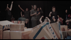Production still from Break Down the Wall by Solar Youth Theatre for Happened 1990