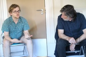 Rehearsal photo of assistant director Stephen and actor Michael for The Bench