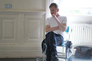 Rehearsal photo of writer Steve for 10-In-The-Bed