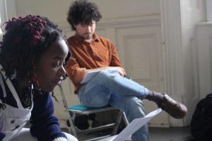 Rehearsal photo of Tatenda and Adam from Hot Orange ensemble