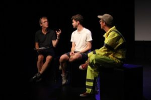 Production photo of Q&A with the creative team of Flat Lands