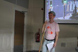 Rehearsal photo of spoken word artist Tom in Flat Lands