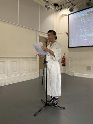 Rehearsal photo of spoken word artist Tomara for LOOPINDOORS
