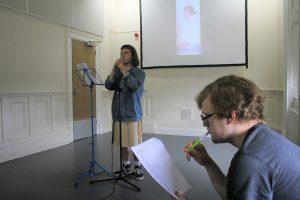 Rehearsal photo of spoken word artist Tomara and Stephen for LOOPINDOORS