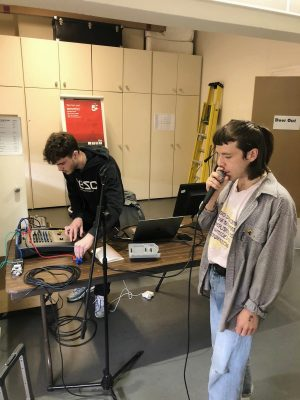 Rehearsal photo of spoken word artist Tomara and Jake for LOOPINDOORS