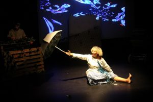 Production photo of writer and performer Tracy in Psychic Babies