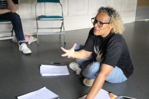 Rehearsal photo of writer Tracy from Psychic Babies