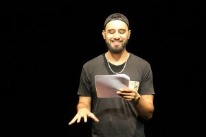 Production photo of spoken word artist Zohab for Boys will be boys